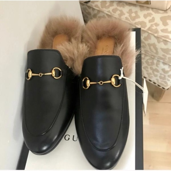 ac0ab8237b0 Gucci Princetown fur leather mules